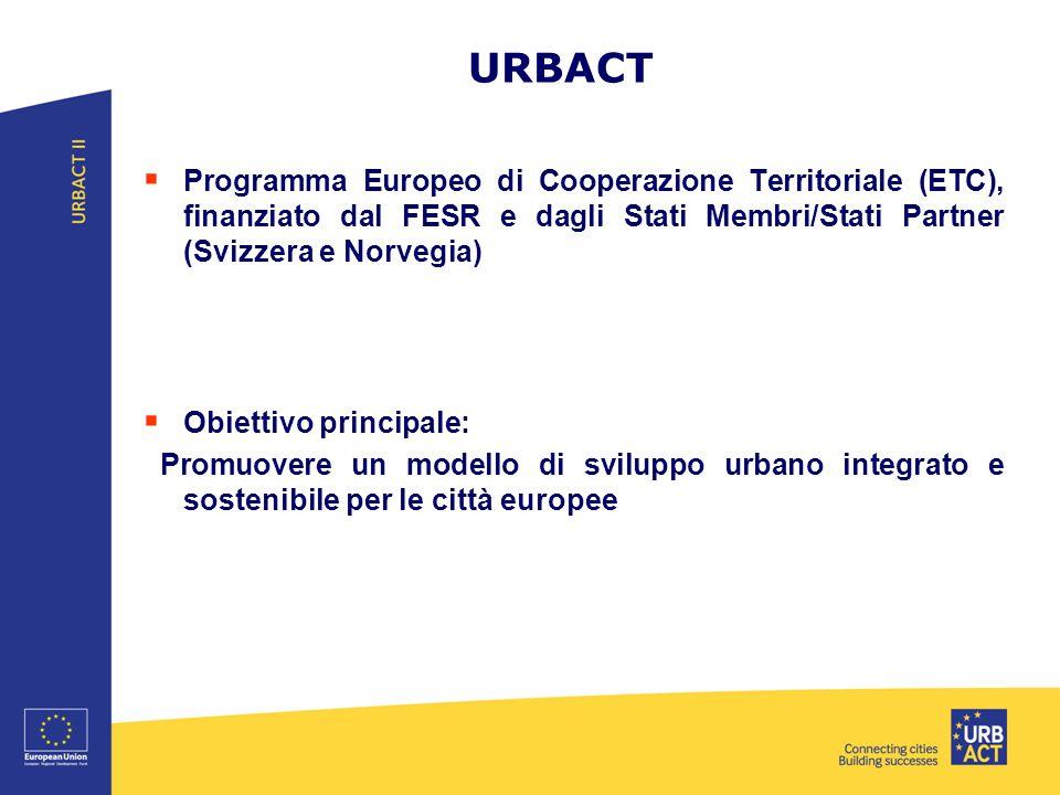 URBACT  Programma Europeo di Cooperazione Territoriale (ETC), finanziato dal FESR e dagli Stati Membri/Stati Partner (Svizzera e Norvegia)  Obiettivo principale: Promuovere un modello di sviluppo urbano integrato e sostenibile per le città europee