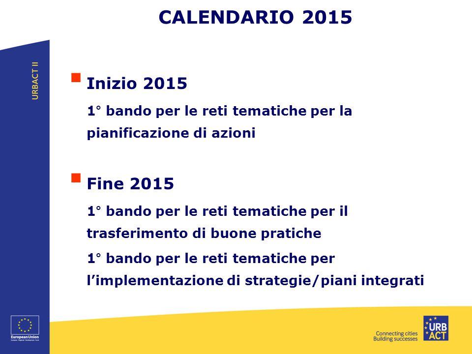 CALENDARIO 2015  Inizio 2015 1° bando per le reti tematiche per la pianificazione di azioni  Fine 2015 1° bando per le reti tematiche per il trasferimento di buone pratiche 1° bando per le reti tematiche per l'implementazione di strategie/piani integrati