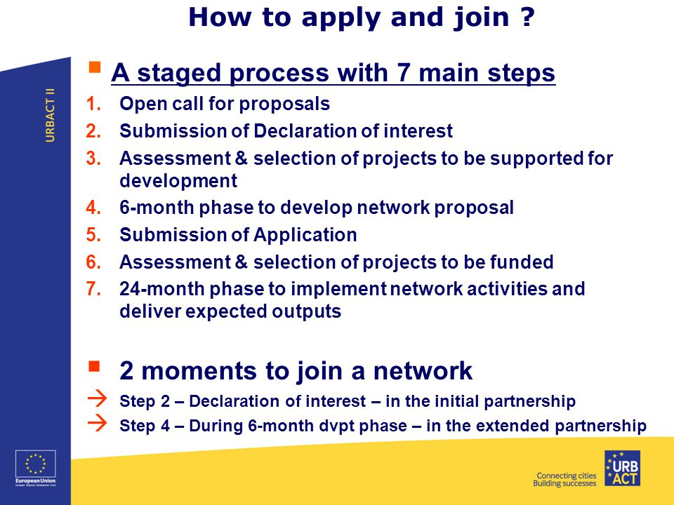 How to apply and join ?  A staged process with 7 main steps 1.Open call for proposals 2.Submission of Declaration of interest 3.Assessment & selectio