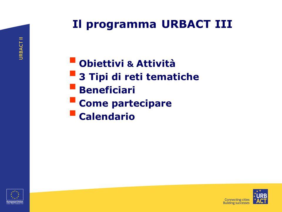 Il programma URBACT III  Obiettivi & Attività  3 Tipi di reti tematiche  Beneficiari  Come partecipare  Calendario