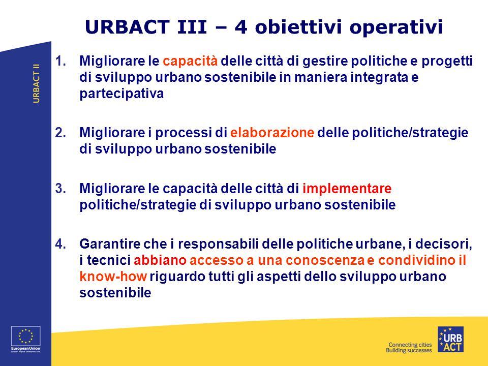 URBACT III – 4 obiettivi operativi 1.Migliorare le capacità delle città di gestire politiche e progetti di sviluppo urbano sostenibile in maniera inte