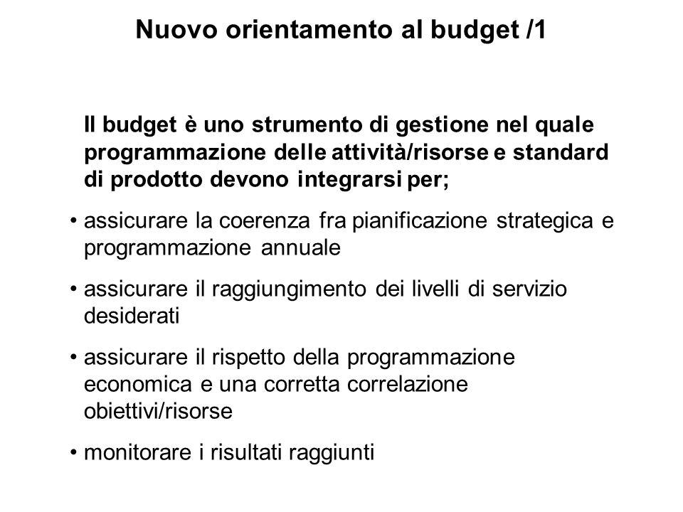 Nuovo orientamento al budget /1 Il budget è uno strumento di gestione nel quale programmazione delle attività/risorse e standard di prodotto devono in