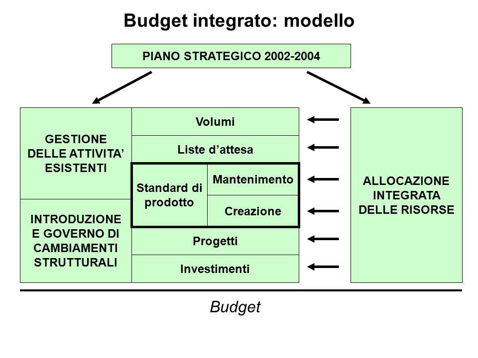 Budget integrato: modello PIANO STRATEGICO 2002-2004 GESTIONE DELLE ATTIVITA' ESISTENTI INTRODUZIONE E GOVERNO DI CAMBIAMENTI STRUTTURALI Volumi Liste