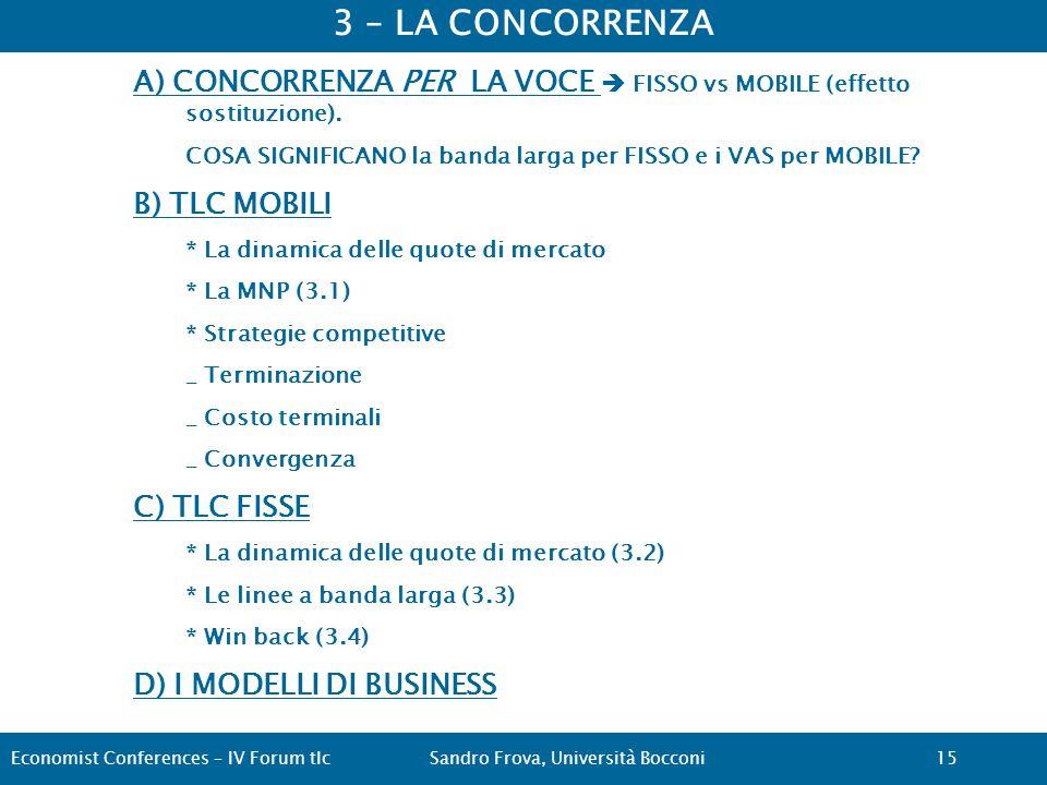 3 – LA CONCORRENZA A) CONCORRENZA PER LA VOCE  FISSO vs MOBILE (effetto sostituzione).