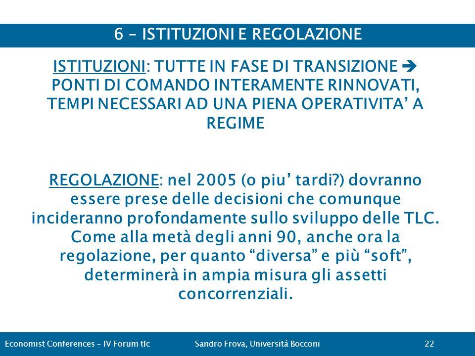 6 – ISTITUZIONI E REGOLAZIONE Economist Conferences – IV Forum tlcSandro Frova, Università Bocconi22 ISTITUZIONI: TUTTE IN FASE DI TRANSIZIONE  PONTI DI COMANDO INTERAMENTE RINNOVATI, TEMPI NECESSARI AD UNA PIENA OPERATIVITA' A REGIME REGOLAZIONE: nel 2005 (o piu' tardi ) dovranno essere prese delle decisioni che comunque incideranno profondamente sullo sviluppo delle TLC.