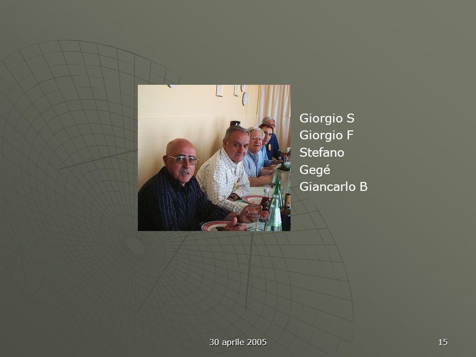 30 aprile 2005 15 Giorgio S Giorgio F Stefano Gegé Giancarlo B