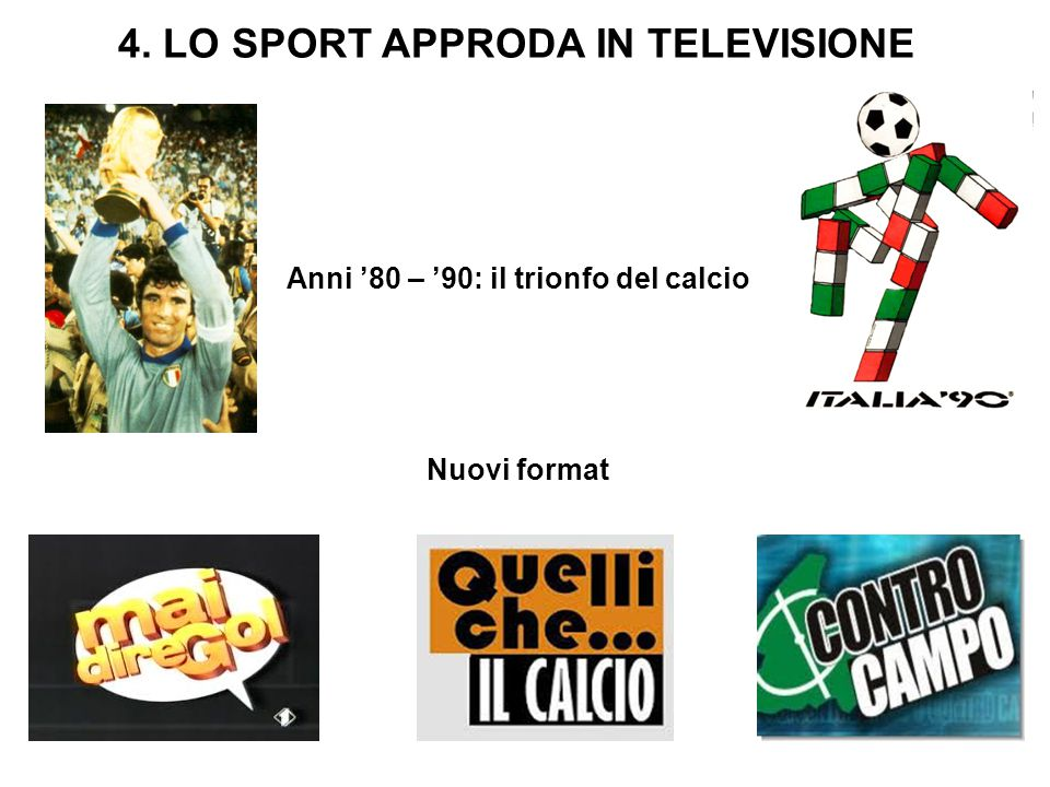 4. LO SPORT APPRODA IN TELEVISIONE Anni '80 – '90: il trionfo del calcio Nuovi format