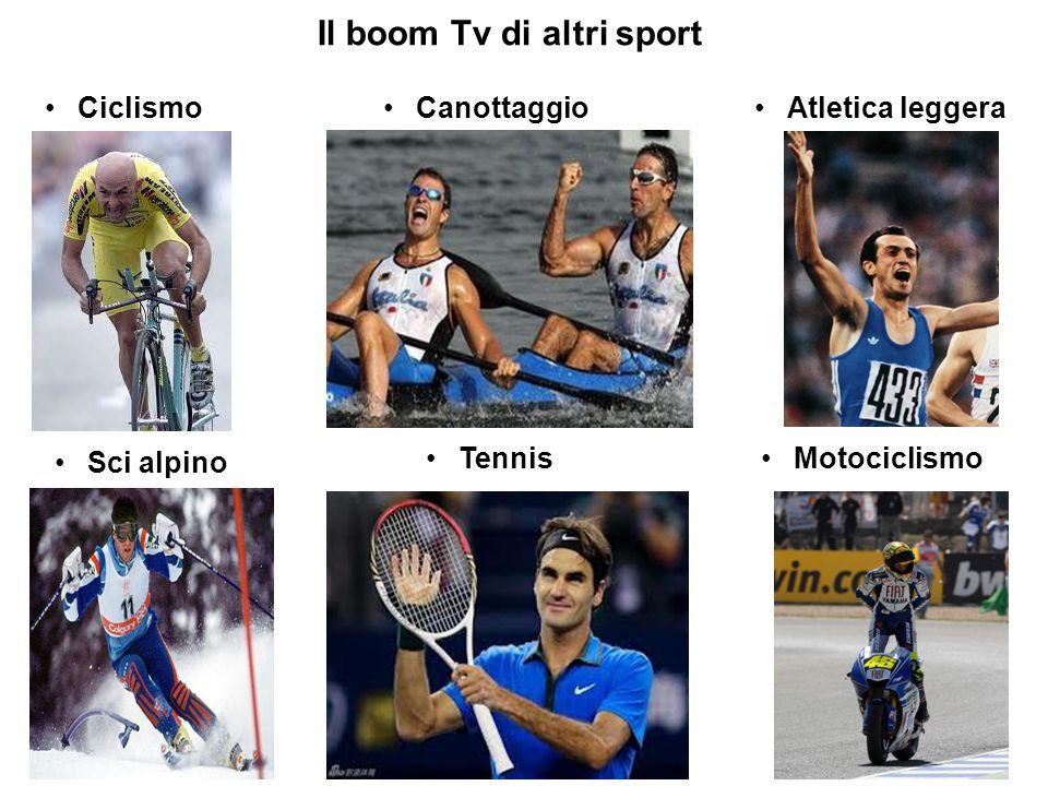 Il boom Tv di altri sport Ciclismo CanottaggioAtletica leggera Sci alpino TennisMotociclismo