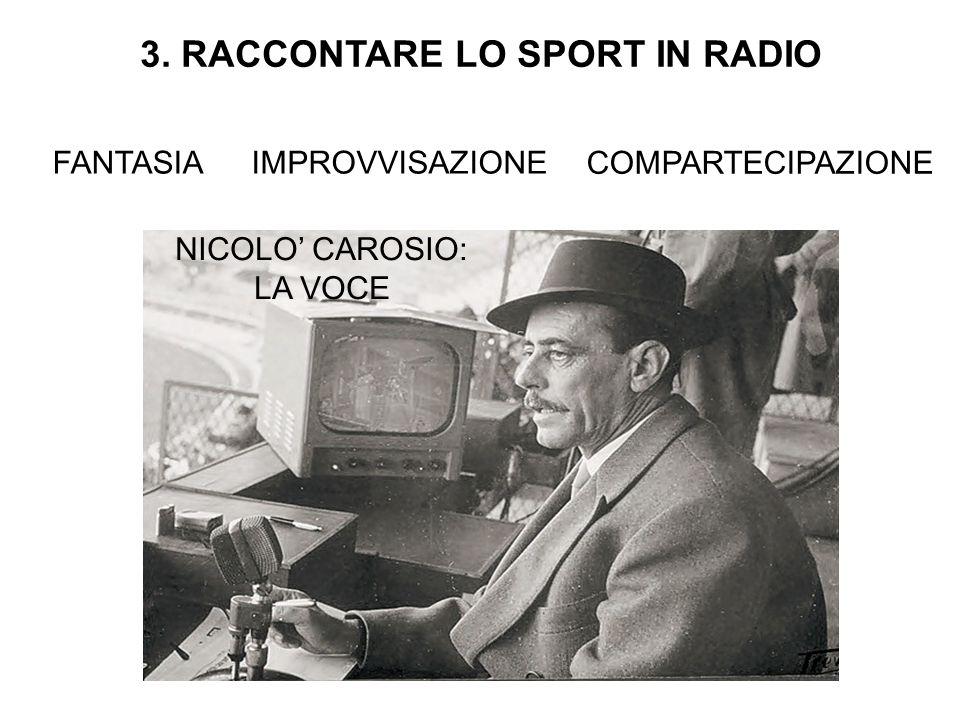 3. RACCONTARE LO SPORT IN RADIO FANTASIAIMPROVVISAZIONE COMPARTECIPAZIONE NICOLO' CAROSIO: LA VOCE