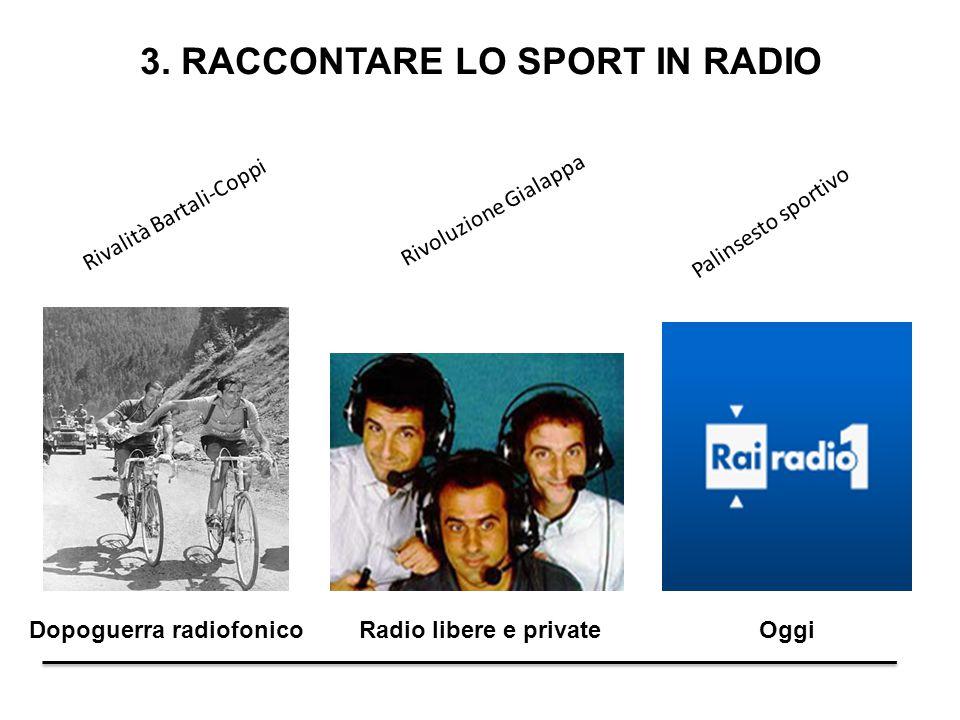 3. RACCONTARE LO SPORT IN RADIO Dopoguerra radiofonicoRadio libere e private Oggi Rivoluzione Gialappa Palinsesto sportivo Rivalità Bartali-Coppi