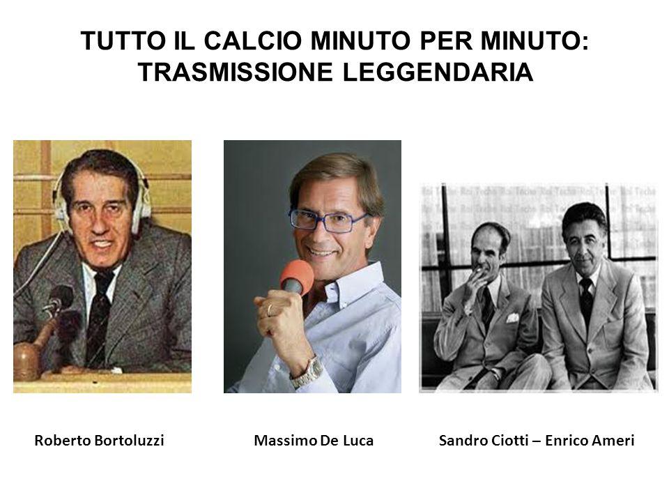 TUTTO IL CALCIO MINUTO PER MINUTO: TRASMISSIONE LEGGENDARIA Sandro Ciotti – Enrico AmeriRoberto BortoluzziMassimo De Luca