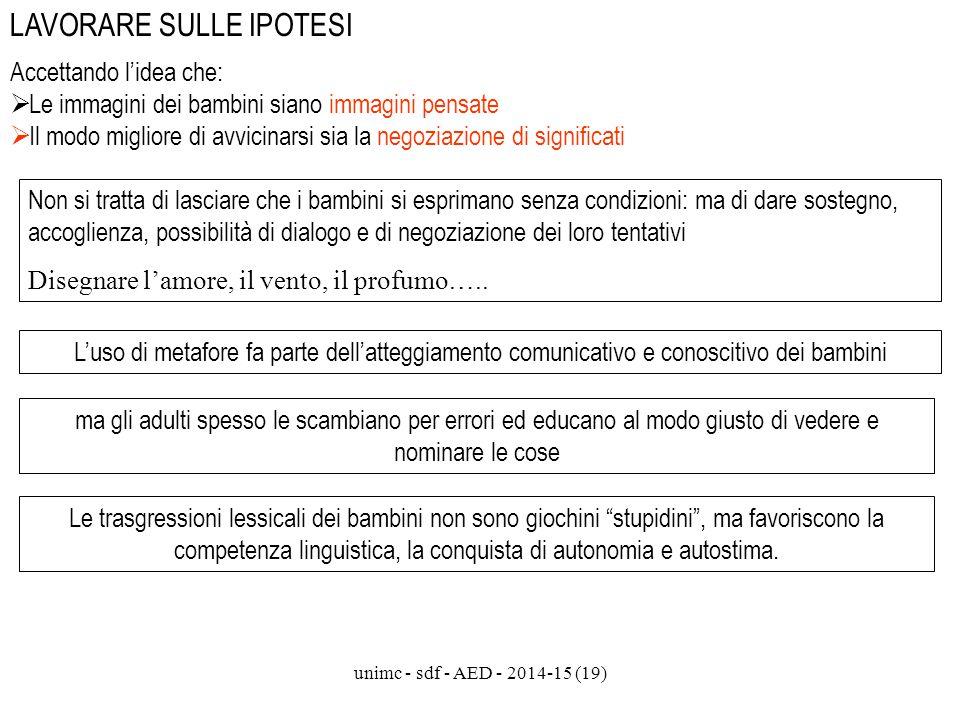 unimc - sdf - AED - 2014-15 (19) LAVORARE SULLE IPOTESI LA METAFORA è quindi: strumento nella costruzione della conoscenza principale strategia cognitiva OCCORRE RIVALUTARE LA METAFORA