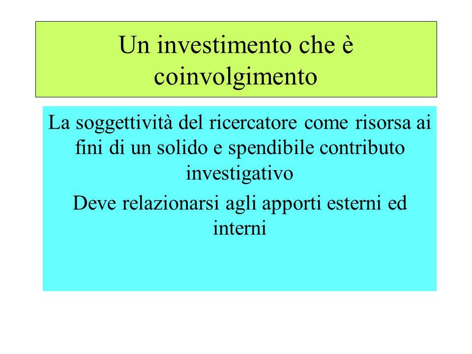 Un investimento che è coinvolgimento La soggettività del ricercatore come risorsa ai fini di un solido e spendibile contributo investigativo Deve relazionarsi agli apporti esterni ed interni