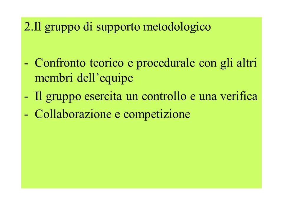 2.Il gruppo di supporto metodologico -Confronto teorico e procedurale con gli altri membri dell'equipe -Il gruppo esercita un controllo e una verifica -Collaborazione e competizione
