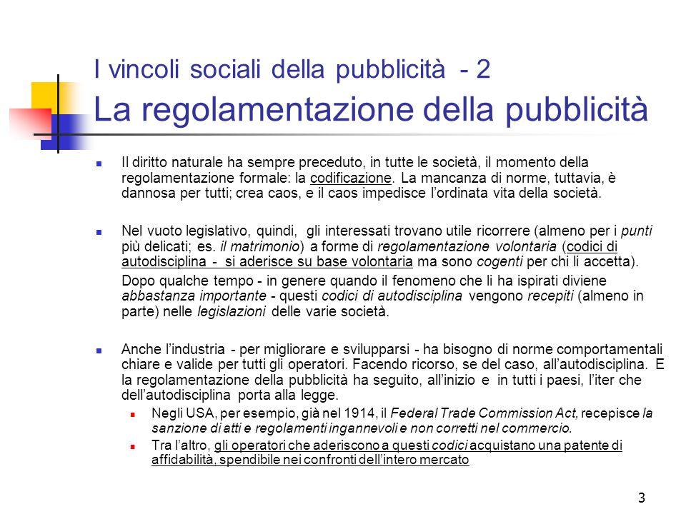 3 I vincoli sociali della pubblicità - 2 La regolamentazione della pubblicità Il diritto naturale ha sempre preceduto, in tutte le società, il momento della regolamentazione formale: la codificazione.