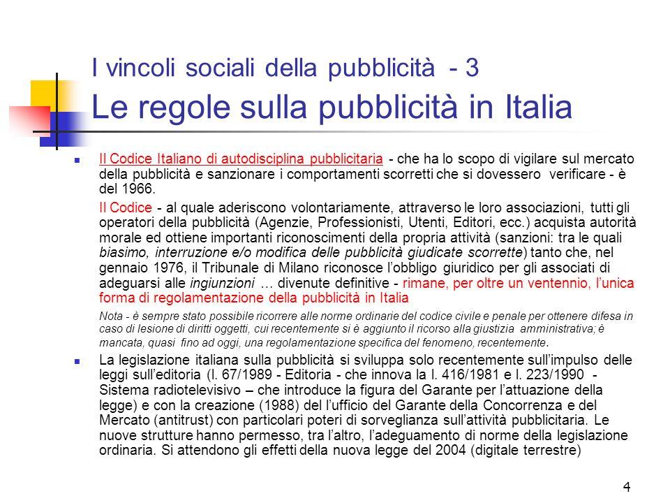 4 I vincoli sociali della pubblicità - 3 Le regole sulla pubblicità in Italia Il Codice Italiano di autodisciplina pubblicitaria - che ha lo scopo di vigilare sul mercato della pubblicità e sanzionare i comportamenti scorretti che si dovessero verificare - è del 1966.