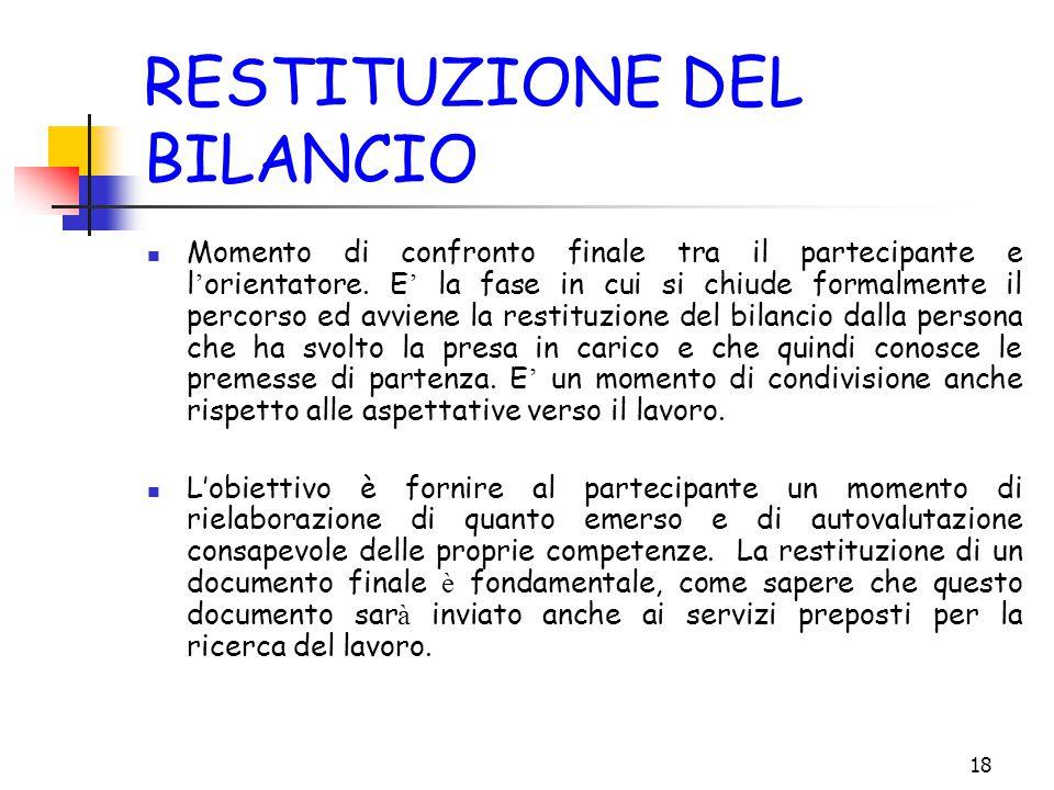 18 RESTITUZIONE DEL BILANCIO Momento di confronto finale tra il partecipante e l ' orientatore.