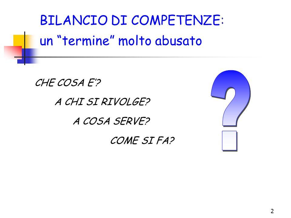 """2 BILANCIO DI COMPETENZE: un """"termine"""" molto abusato COME SI FA? A COSA SERVE? A CHI SI RIVOLGE? CHE COSA E'?"""
