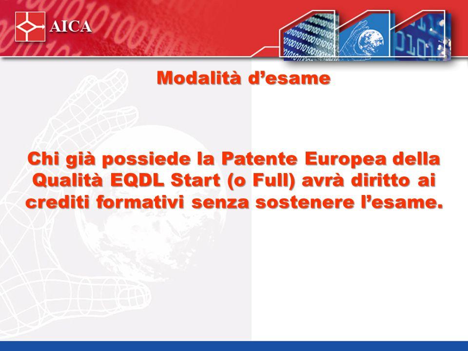 Modalità d'esame Chi già possiede la Patente Europea della Qualità EQDL Start (o Full) avrà diritto ai crediti formativi senza sostenere l'esame.