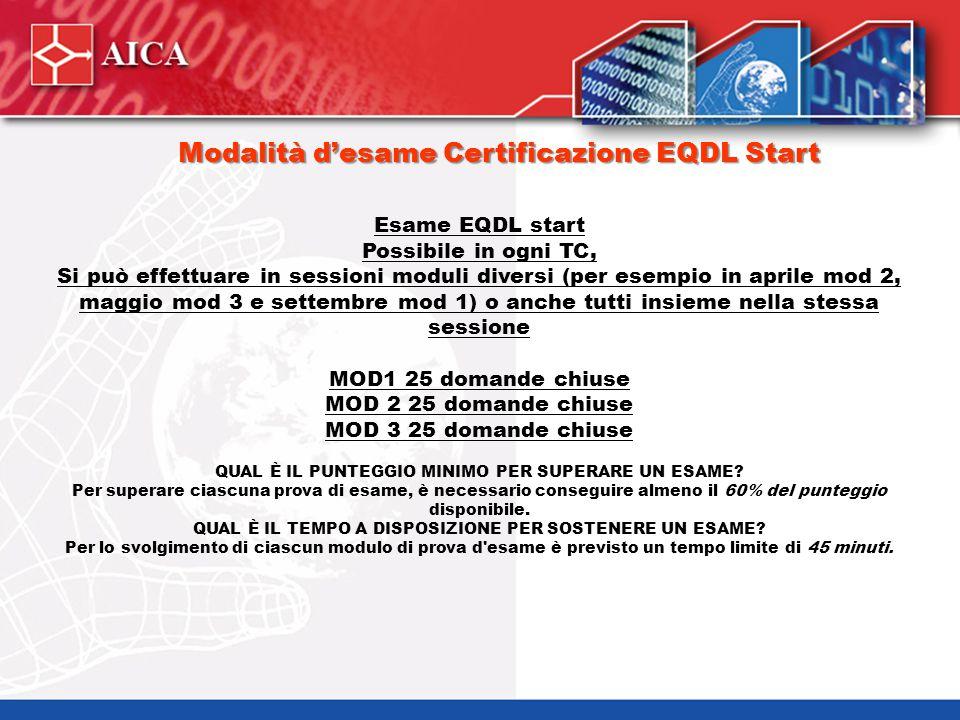 Modalità d'esame Certificazione EQDL Start Esame EQDL start Possibile in ogni TC, Si può effettuare in sessioni moduli diversi (per esempio in aprile