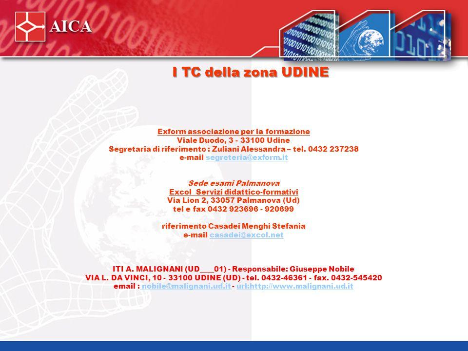I TC della zona UDINE Exform associazione per la formazione Viale Duodo, 3 - 33100 Udine Segretaria di riferimento : Zuliani Alessandra – tel. 0432 23