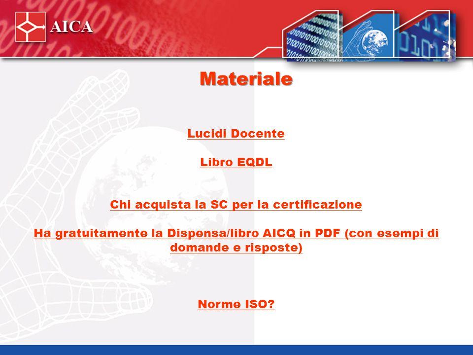 Materiale Lucidi Docente Libro EQDL Chi acquista la SC per la certificazione Ha gratuitamente la Dispensa/libro AICQ in PDF (con esempi di domande e r