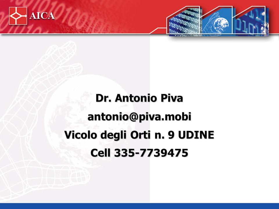 Dr. Antonio Piva antonio@piva.mobi Vicolo degli Orti n. 9 UDINE Cell 335-7739475