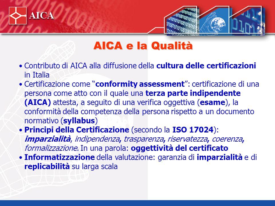 """AICA e la Qualità Contributo di AICA alla diffusione della cultura delle certificazioni in Italia Certificazione come """"conformity assessment"""": certifi"""