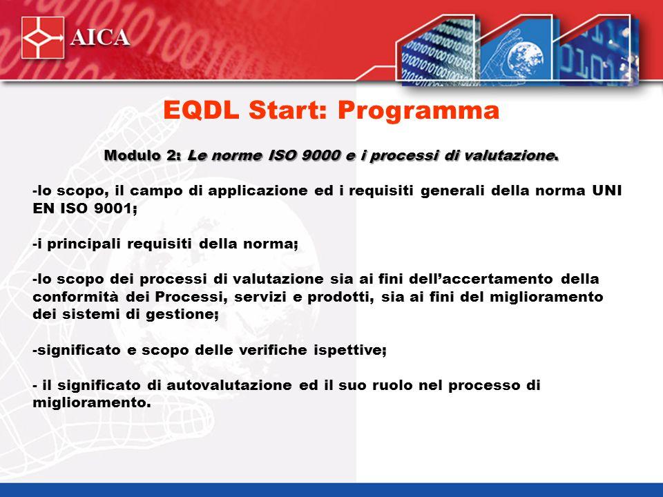 Modulo 2: Le norme ISO 9000 e i processi di valutazione. -lo scopo, il campo di applicazione ed i requisiti generali della norma UNI EN ISO 9001; -i p