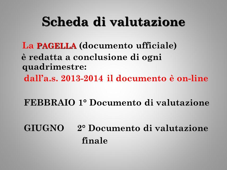 Scheda di valutazione PAGELLA La PAGELLA (documento ufficiale) è redatta a conclusione di ogni quadrimestre: dall'a.s. 2013-2014 il documento è on-lin
