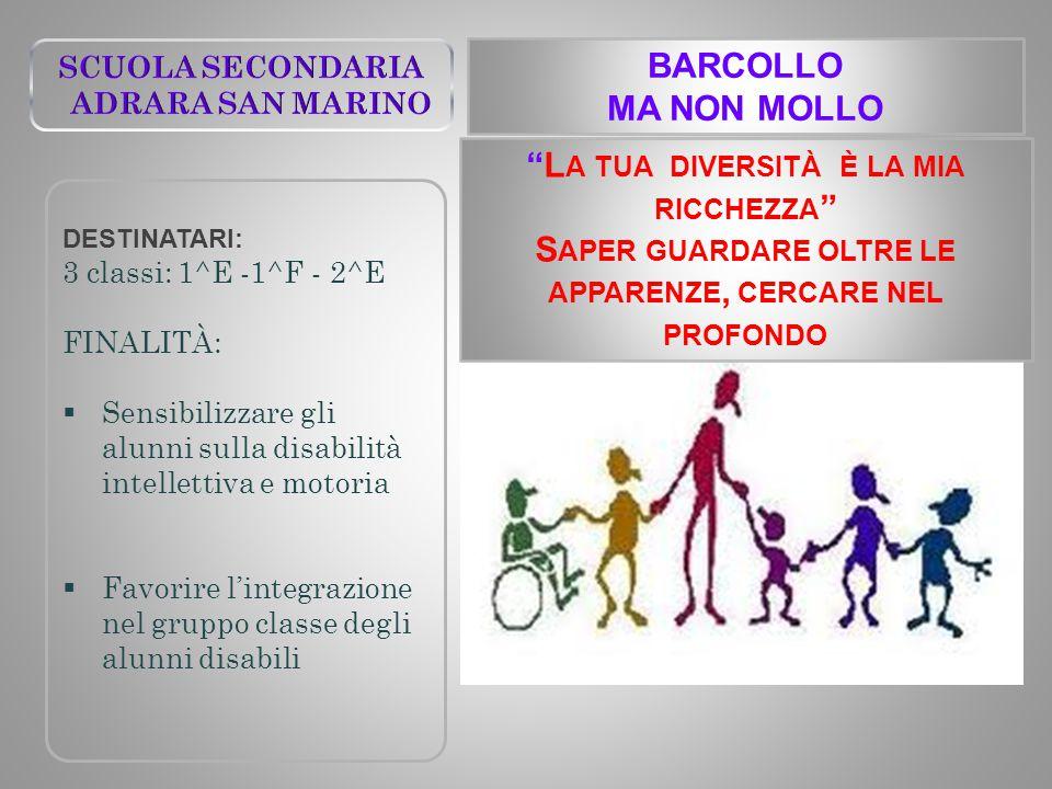 BARCOLLO MA NON MOLLO DESTINATARI: 3 classi: 1^E -1^F - 2^E FINALITÀ:  Sensibilizzare gli alunni sulla disabilità intellettiva e motoria  Favorire l