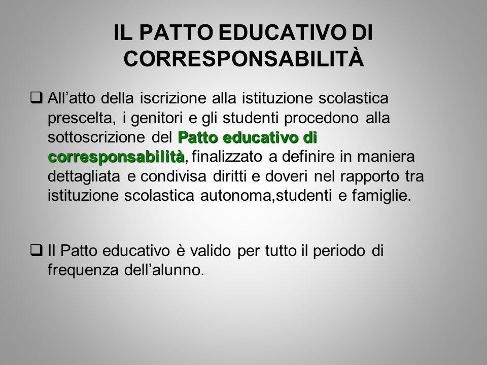 IL PATTO EDUCATIVO DI CORRESPONSABILITÀ Patto educativo di corresponsabilità  All'atto della iscrizione alla istituzione scolastica prescelta, i geni
