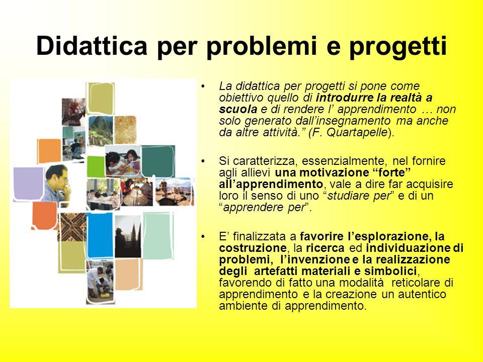 Didattica per problemi e progetti La didattica per progetti si pone come obiettivo quello di introdurre la realtà a scuola e di rendere l' apprendimen