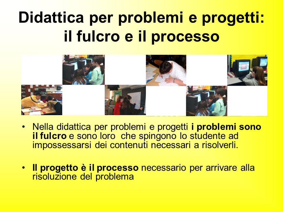 Didattica per problemi e progetti: il fulcro e il processo Nella didattica per problemi e progetti i problemi sono il fulcro e sono loro che spingono