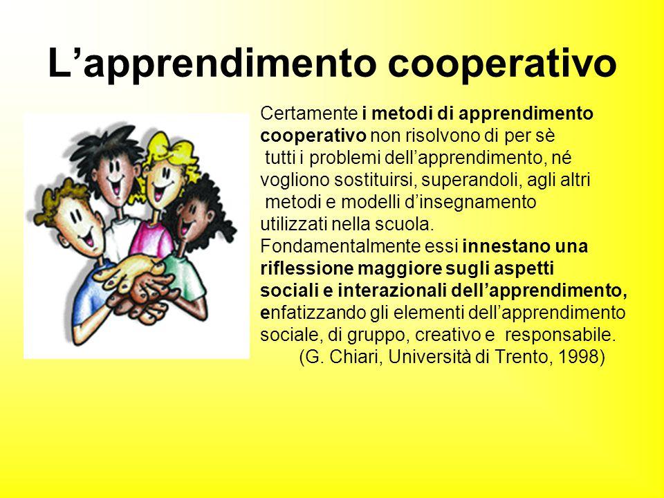 Certamente i metodi di apprendimento cooperativo non risolvono di per sè tutti i problemi dell'apprendimento, né vogliono sostituirsi, superandoli, ag