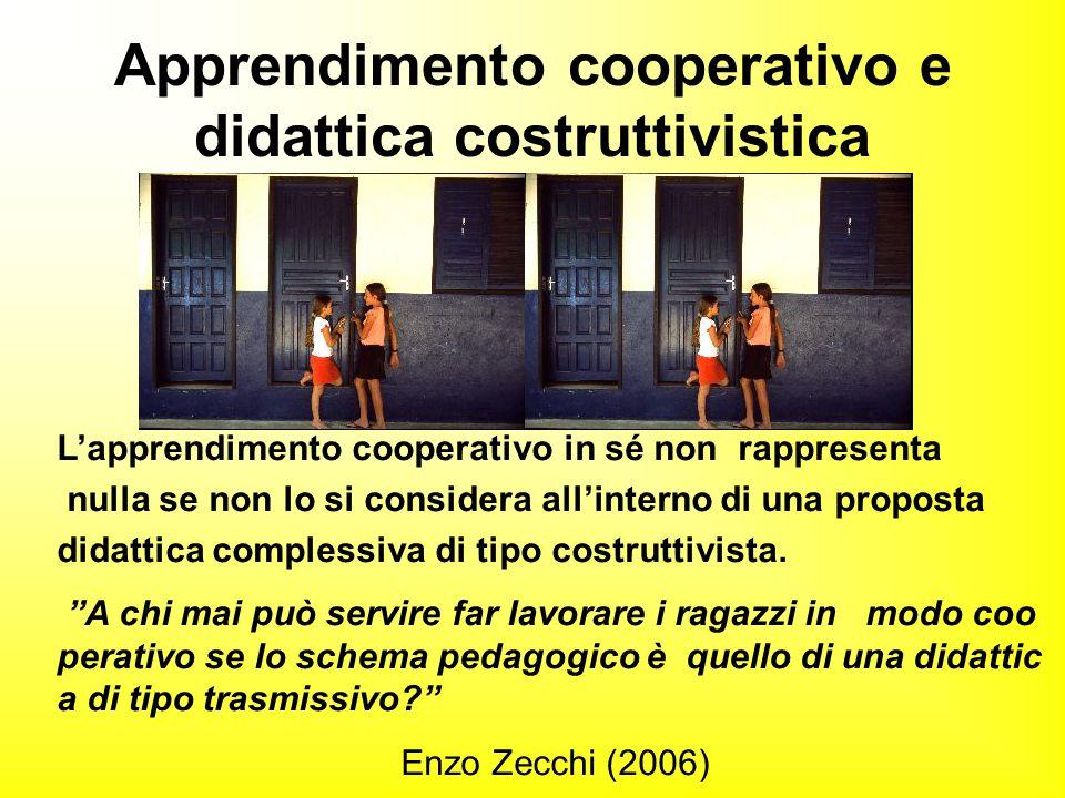 L'apprendimento cooperativo in sé non rappresenta nulla se non lo si considera all'interno di una proposta didattica complessiva di tipo costruttivist