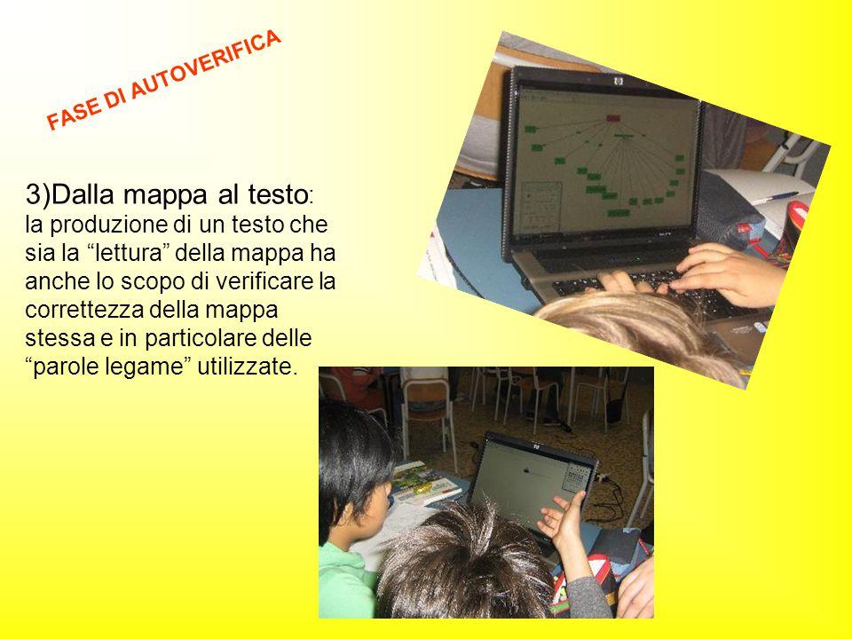 """3)Dalla mappa al testo : la produzione di un testo che sia la """"lettura"""" della mappa ha anche lo scopo di verificare la correttezza della mappa stessa"""