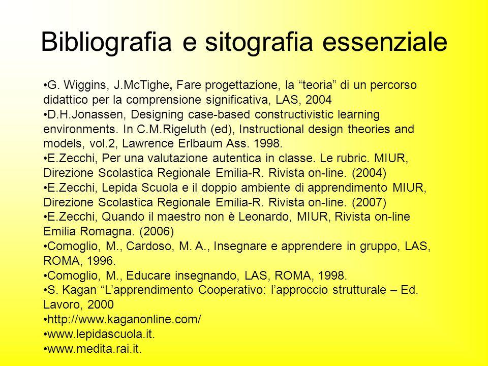"""G. Wiggins, J.McTighe, Fare progettazione, la """"teoria"""" di un percorso didattico per la comprensione significativa, LAS, 2004 D.H.Jonassen, Designing c"""