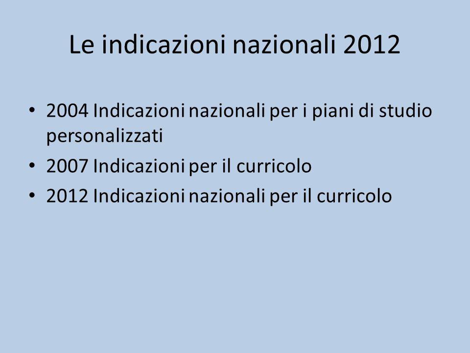 Le indicazioni nazionali 2012 2004 Indicazioni nazionali per i piani di studio personalizzati 2007 Indicazioni per il curricolo 2012 Indicazioni nazionali per il curricolo