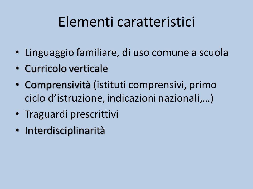 Elementi caratteristici Linguaggio familiare, di uso comune a scuola Curricolo verticale Curricolo verticale Comprensività Comprensività (istituti comprensivi, primo ciclo d'istruzione, indicazioni nazionali,…) Traguardi prescrittivi Interdisciplinarità Interdisciplinarità
