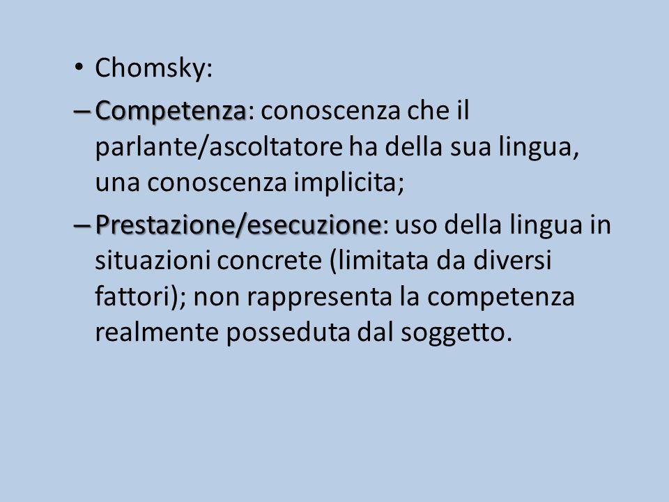 Chomsky: – Competenza – Competenza: conoscenza che il parlante/ascoltatore ha della sua lingua, una conoscenza implicita; – Prestazione/esecuzione – Prestazione/esecuzione: uso della lingua in situazioni concrete (limitata da diversi fattori); non rappresenta la competenza realmente posseduta dal soggetto.