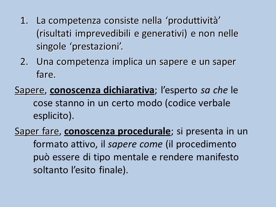 1.La competenza consiste nella 'produttività' (risultati imprevedibili e generativi) e non nelle singole 'prestazioni'.