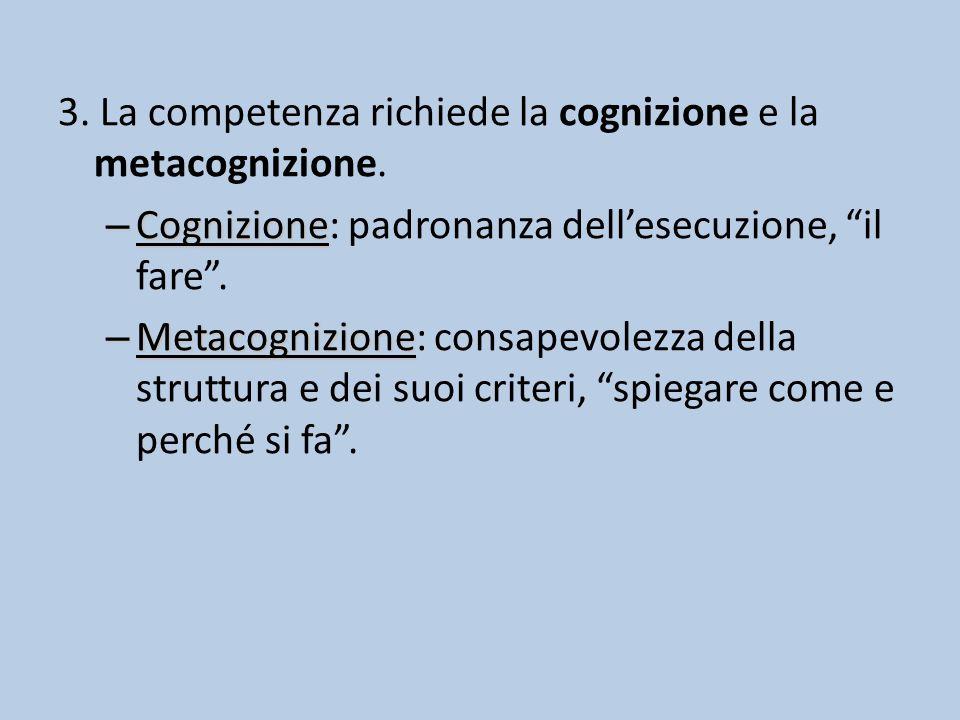 3.La competenza richiede la cognizione e la metacognizione.