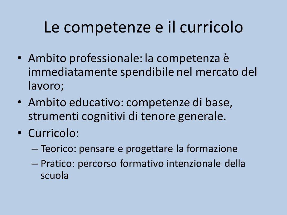 Le competenze e il curricolo Ambito professionale: la competenza è immediatamente spendibile nel mercato del lavoro; Ambito educativo: competenze di base, strumenti cognitivi di tenore generale.