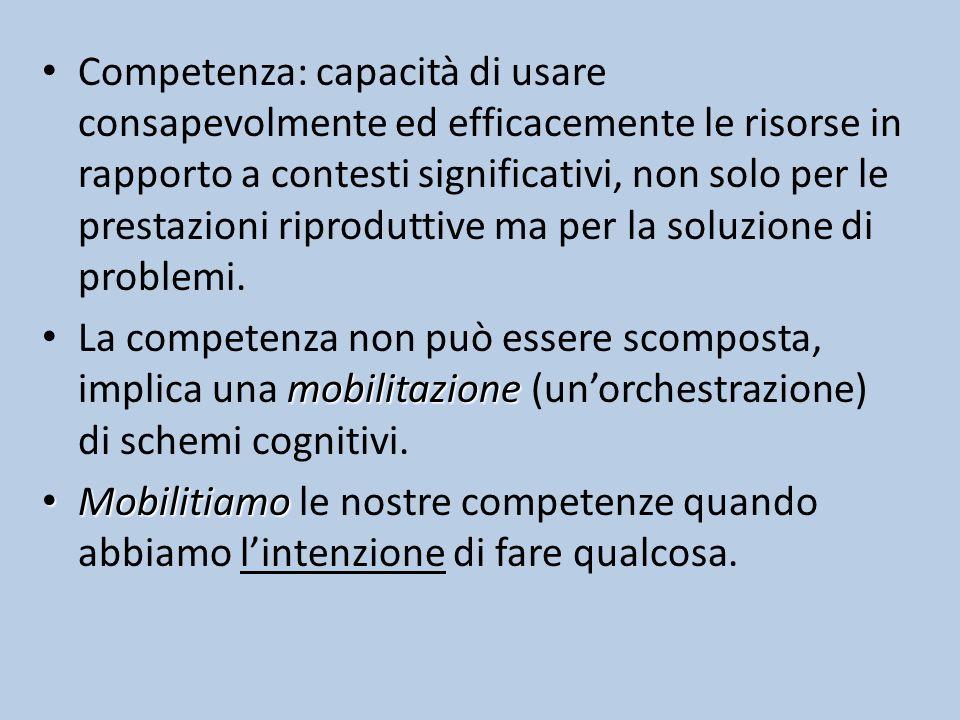 Competenza: capacità di usare consapevolmente ed efficacemente le risorse in rapporto a contesti significativi, non solo per le prestazioni riproduttive ma per la soluzione di problemi.