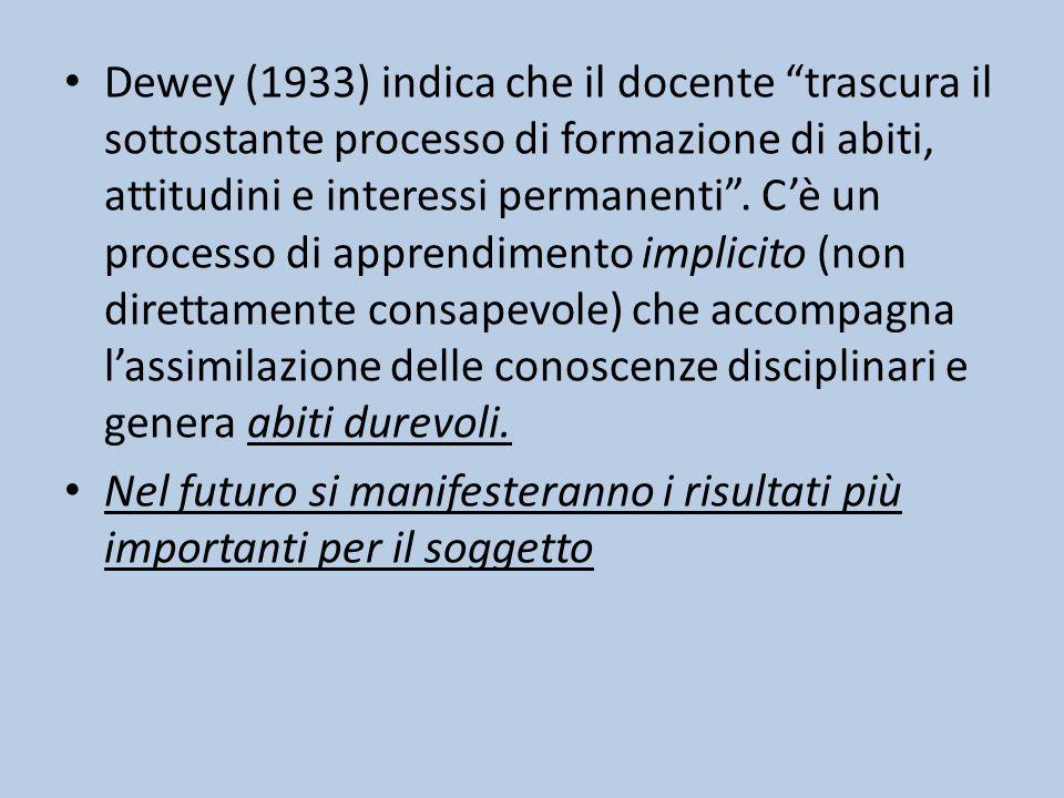 Dewey (1933) indica che il docente trascura il sottostante processo di formazione di abiti, attitudini e interessi permanenti .