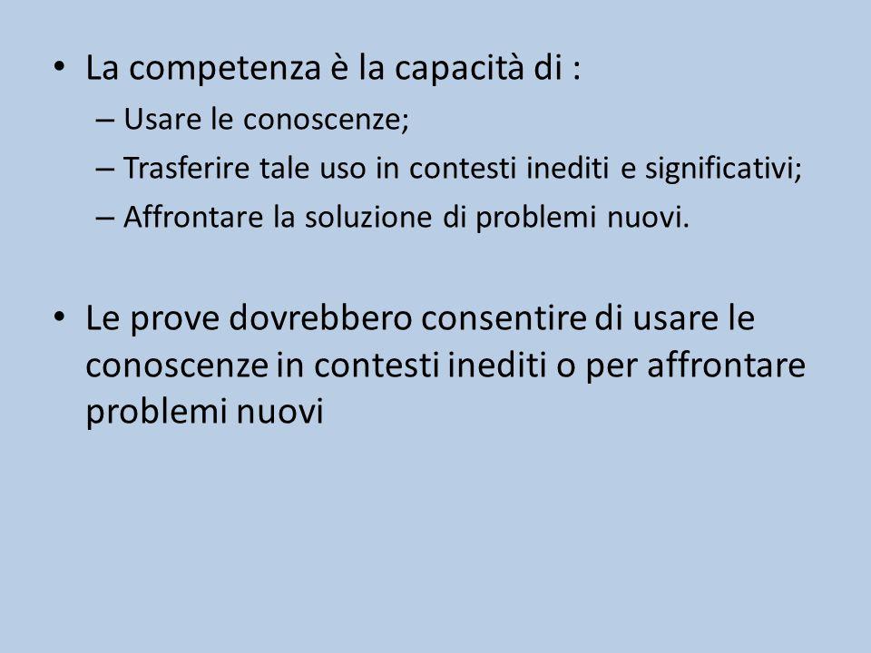 La competenza è la capacità di : – Usare le conoscenze; – Trasferire tale uso in contesti inediti e significativi; – Affrontare la soluzione di problemi nuovi.