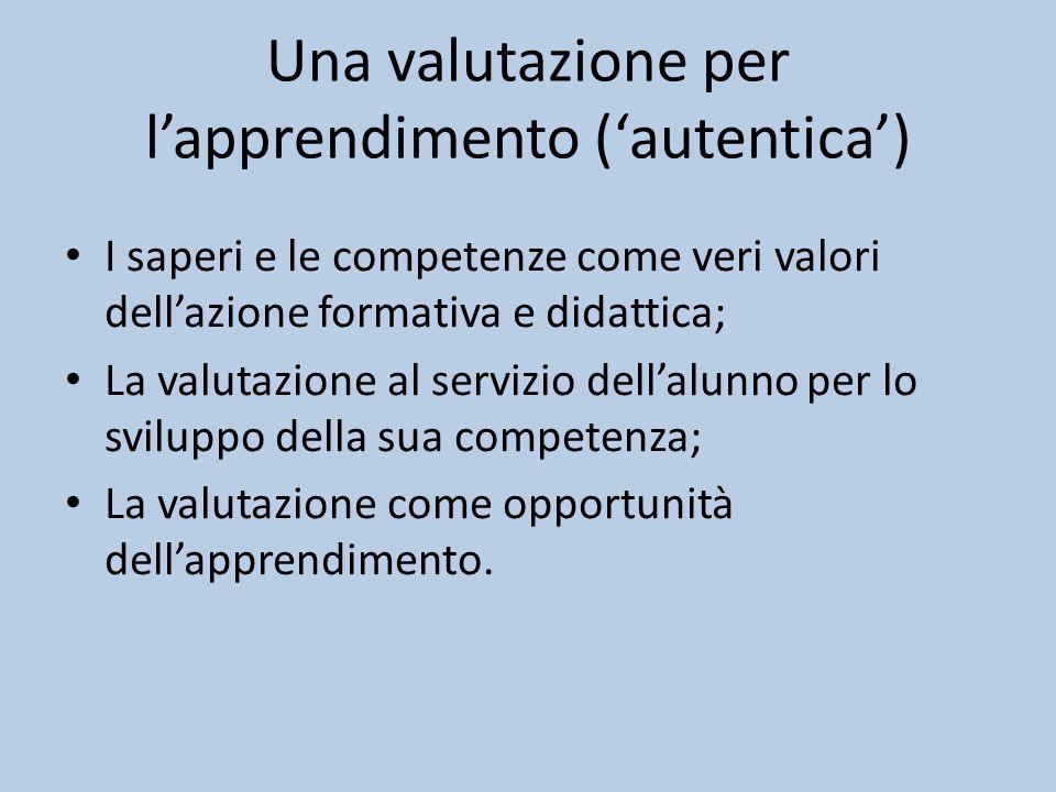 Una valutazione per l'apprendimento ('autentica') I saperi e le competenze come veri valori dell'azione formativa e didattica; La valutazione al servizio dell'alunno per lo sviluppo della sua competenza; La valutazione come opportunità dell'apprendimento.