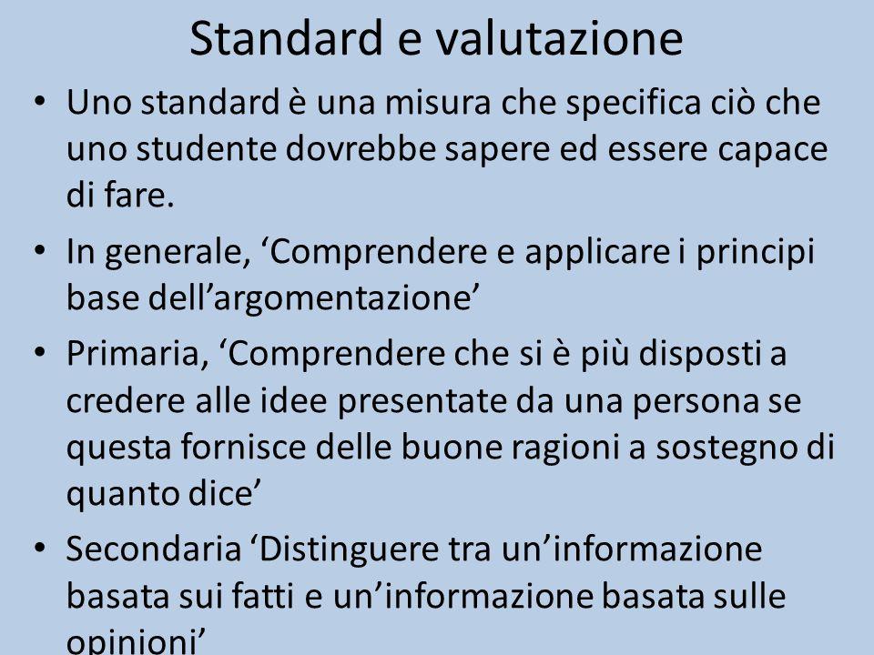 Standard e valutazione Uno standard è una misura che specifica ciò che uno studente dovrebbe sapere ed essere capace di fare.