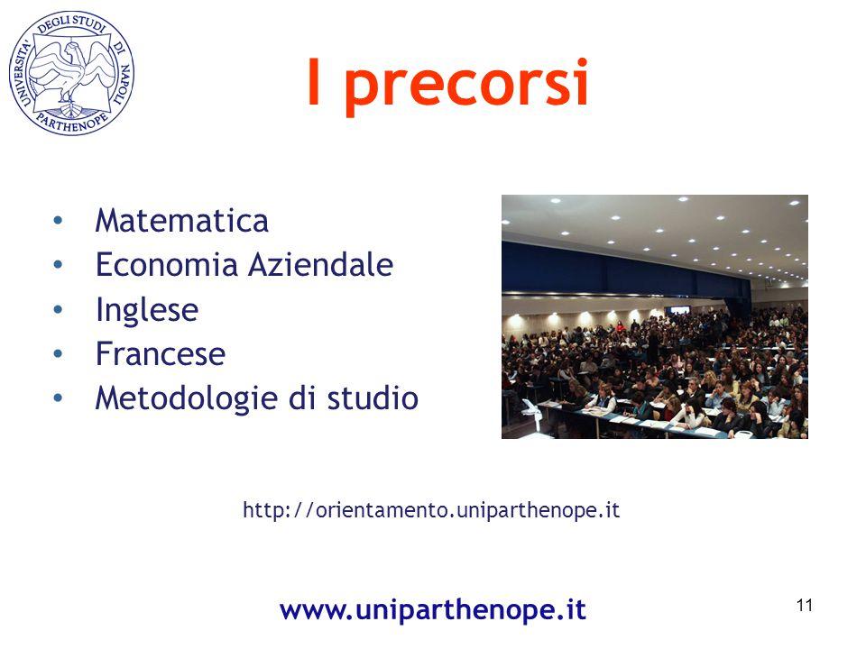 I precorsi Matematica Economia Aziendale Inglese Francese Metodologie di studio 11 www.uniparthenope.it http://orientamento.uniparthenope.it